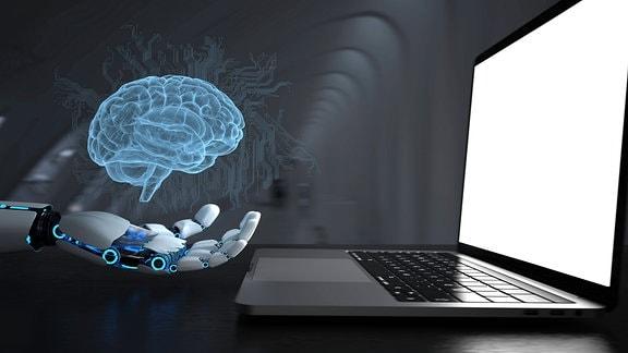 Roboterhand, Hologramm eines Gehirns und Laptop