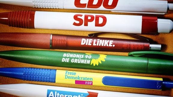 Kugelschreiber der groߟen Parteien, Bundestagswahl 2017