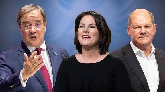 Die Kanzlerkandidaten zur Bundestagswahl 2021: v.li:Armin LASCHET CDU,Annalena BAERBOCK, Buendnis 90/die Gruenen,Olaf SCHOLZ SPD.