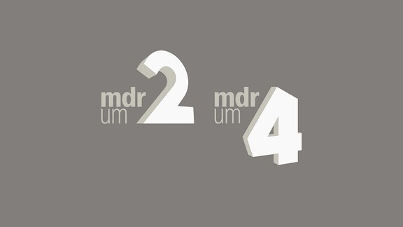 Logo MDR am Nachmittag (MDR um 2 & MDR um 4) auf petrol-blauem Hintergrund
