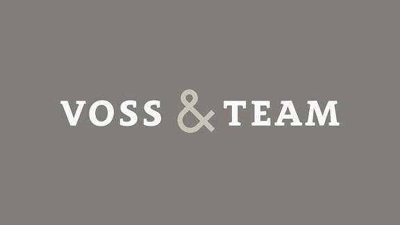 Logo Voss & Team auf petrol-blauem Hintergrund