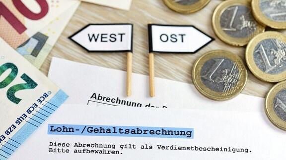 Wegweiser West und Ost mit Geldscheinen und Geldmünzen, ungleiche Gehälter in West- und Ostdeutschland