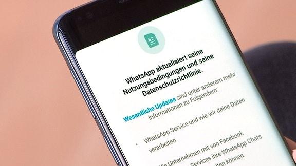 Nutzungsbedingungen von WhatsApp lesbar auf einem Smartphonebildschirm.