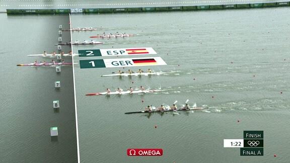 Die deutschen Ruderer überqueren als erstes Boot die Ziellinie.