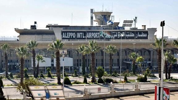 Haupteingang des internationalen Flughafen in Aleppo.
