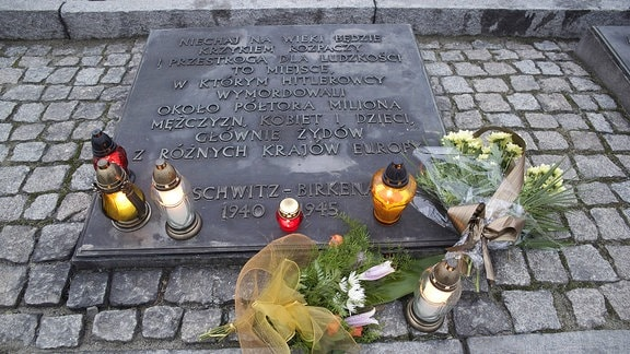 Denkmal für die ermordeten Juden im ehemaligen Konzentrationslager Auschwitz-Birkenau in Polen.