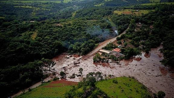 Von Schlamm überflutetes Tal nach Dammbruch in Brumadinho, Brasilien.