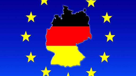 Deutschlandkarte in den Nationalfarben, dazu die das EU Logo aus Sternen.