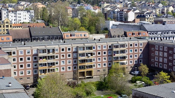 Plattenbauten in der Innenstadt von Gera