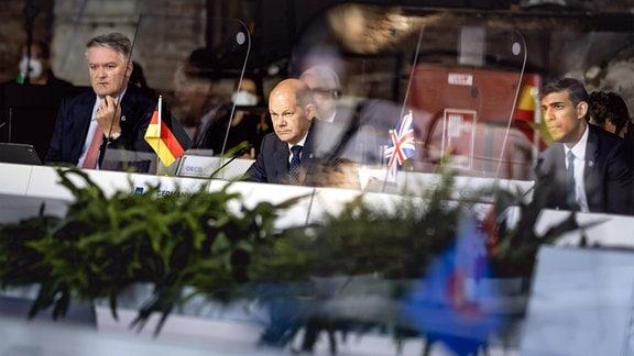 Bundesfinanzminister Olaf Scholz SPD im Rahmen des G20 Gipfels in Venedig.
