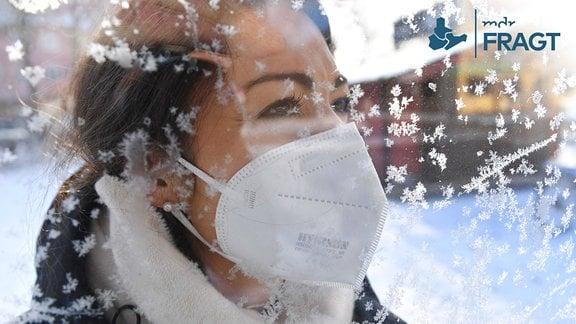 Eine junge Frau mit Schutzmaske