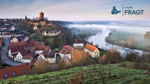 Aussicht auf Dorf und Burg Schönburg im Saaletal, Morgennebel über der Saale, bei Naumburg, Sachsen-Anhalt
