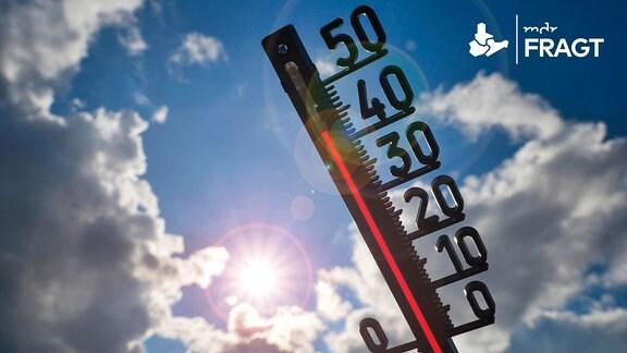 Thermometer in der Sonne zeigt über 40 Grad Celsius