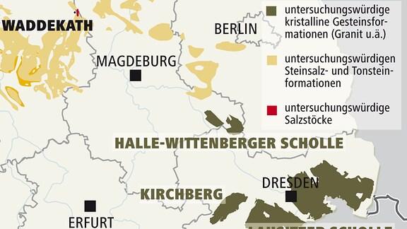 Mögliche Regionen für Endlager in Mitteldeutschland