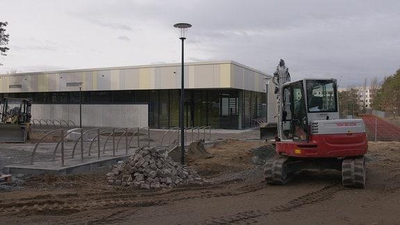 Bau der neuen Sporthalle in Coswig