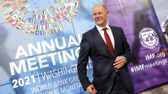 Bundesfinanzminister Olaf Scholz, SPD, aufgenommen im Rahmen der IWF / WB Jahrestagung und dem Treffen der G20 FinanzministerInnen und Notenbankgouverneure in Washington, 13.10.2021