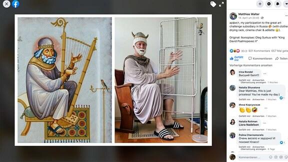 Ein Facebook Post, der ein Kunstwerk der Geschichte nachbildet