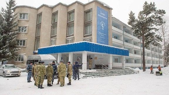 Die Ansicht eines Gebäudes des Gradostroitel-Behandlungs- und Rehabilitationszentrums, in dem russische Staatsbürger untergebracht werden sollen, die aus China evakuiert wurden.
