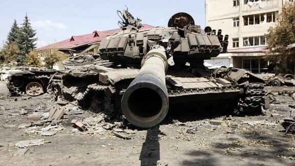 Zerstörter Panzer der Georgischen Armee, 2008
