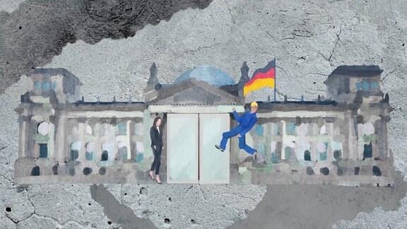 Collage Berliner Reichstag mit Anwältin und Handwerker davor