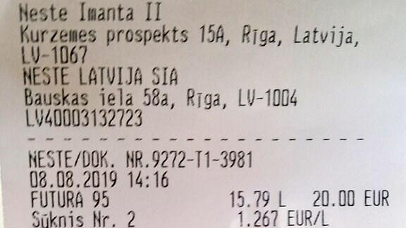 Kassenzettel Lettland