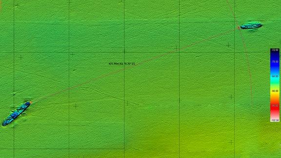 Sonarbild des Ostseegrunds am Wrack der Karlsruhe in der Ostsee, rund 100 km nördlich von Ustka (Stolpmünde), Dezember 2020