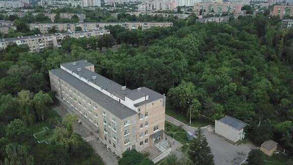 ein Gebäude aus der Vogelperspektive