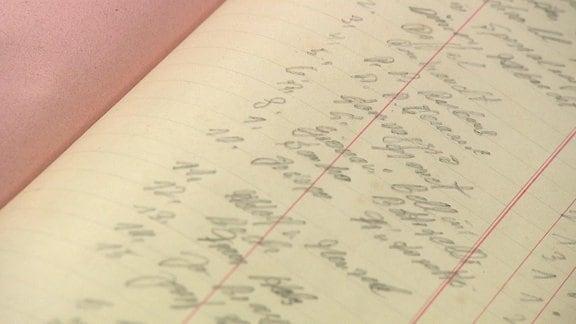 Tagebuchseite mit handschriftlichen Aufzeichnungen