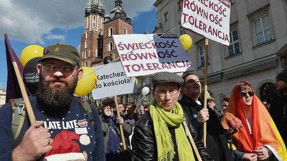 Polen demonstrieren für die Trennung von Kirche und Staat (Krakau im September 2018)