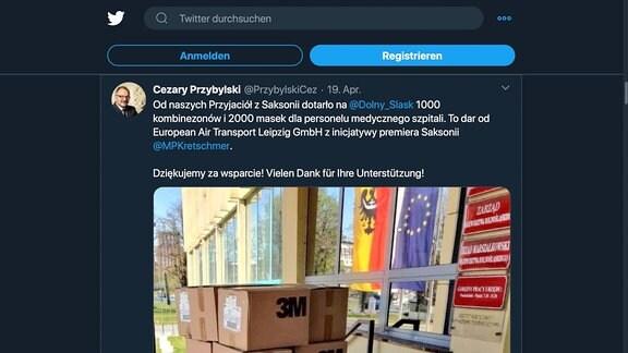 Screenshot Twitter Profilseite von Cezary Przybylski