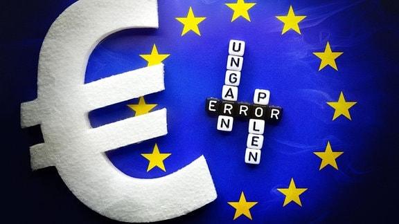 EU-Fahne mit den Schriftzügen Error, Ungarn und Polen mit Eurozeichen, EU-Haushaltsstreit