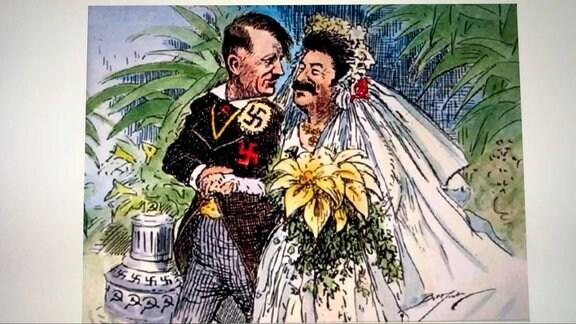 Hitler und Stalin als Brautpaar - Karrikatur