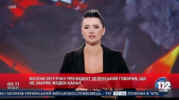 Screenshot aus einer Sendung des ukrainischen TV-Senders 112 Ukraina, der auf Anordnung von Präsident Selenskyj