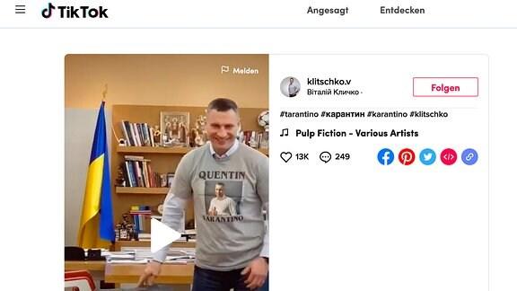 Screenshot einer TikTok-Seite mit Vitali Klitschko
