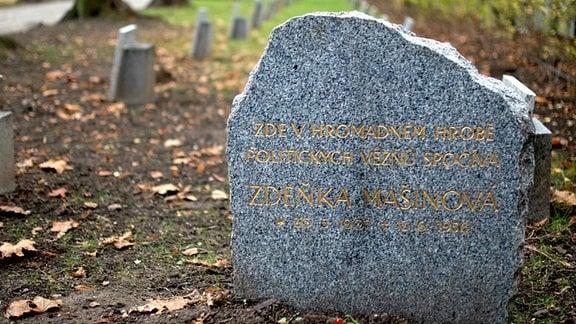 Ein Gedenkstein mit Granitmaserung steht auf einem Grab. Die Aufschrift in goldenen Lettern auf Tschechisch: «Hier im Massengrab ruht die politische Gefangene Zdenka Masinova».