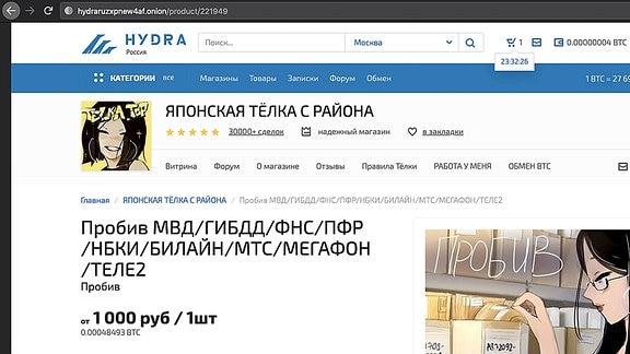 Russland Datenhandel - Screenshot einer russischen Internetseite.