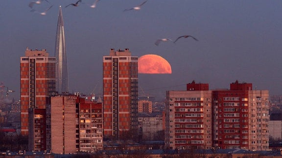 Mond scheint über Sankt Petersburg