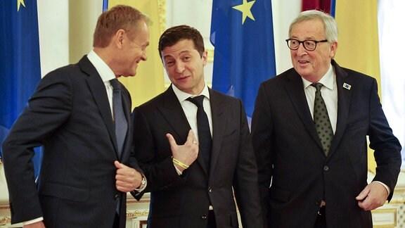 Tusk, Selenskyj und Juncker in Kiew