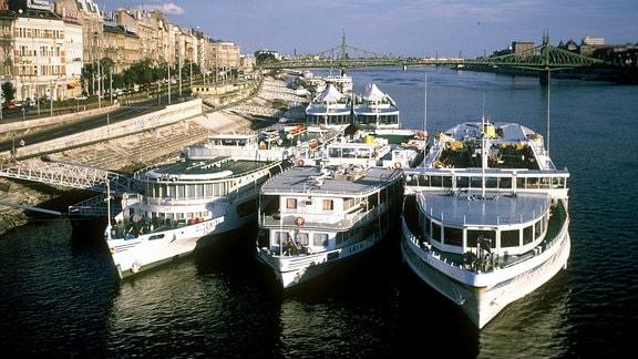 Ausflugsschiffe auf der Donau in Budapest