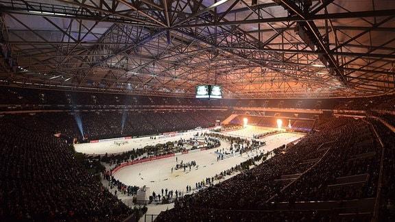 Die Biathlon-Strecke in der Veltins-Arena in Gelsenkirchen.