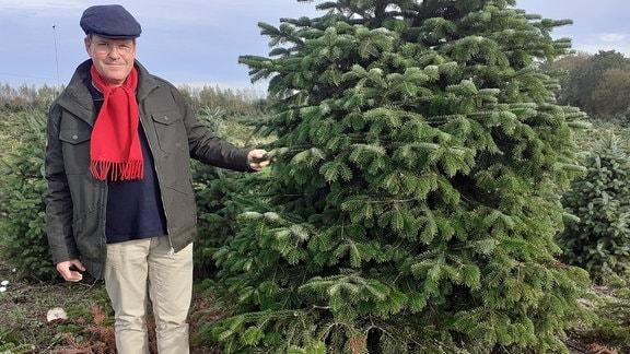 Weihnachtsbaumzüchter Ulrich Haberland neben einem Baum.