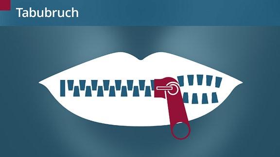Ein Piktogramm, das einen Mund darstellt. Statt Zähnen ist ein Reißverschluss zu sehen, der halb geöffnet ist.
