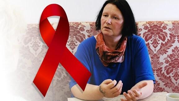 Eine Frau und davor die großes rote Aids-Schleife