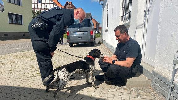 Zwei Polizisten mit einem Personensuchhund/Mantrail-Hund auf einer Treppe.