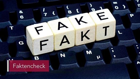 """Auf einer Computer-Tastatur liegen Würfel. Sie zeigen nach oben die Aufschrift """"Fake"""" und nach vorne die Aufschrift """"Fakt""""."""