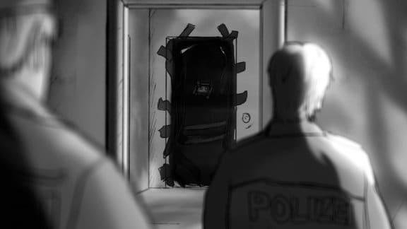 Zeichnung einer Wohnung, Blick über die Schulter eines Polizisten auf eine abgeklebte schwarze Tür