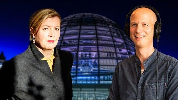Anja Maier und Malte Pieper vor der Kuppel des Reichstages