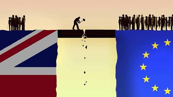Mann zerstört das Bindeglied zwischen der EU und Großbritannien