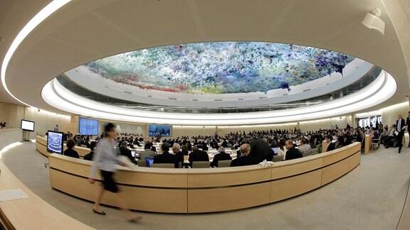 Eine Sitzung des UN-Menschenrechtsrates im europäischen Hauptquartier der Vereinten Nationen in Genf