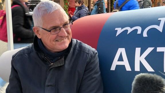 Hans-Ulrich Spannaus auf dem MDR-Aktuell-Sofa